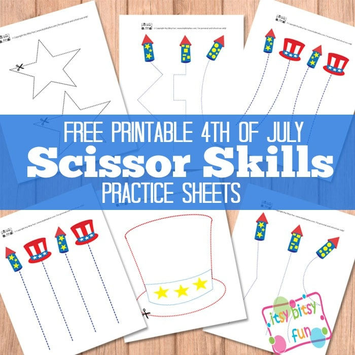 4th Of July Scissor Cutting Practice Worksheets