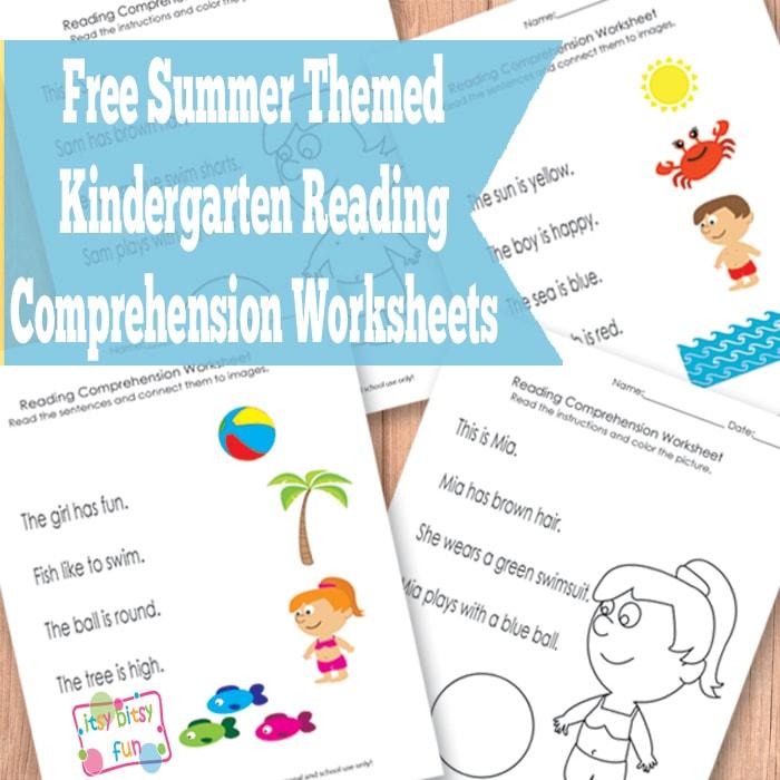 Summer Kindergarten Reading Comprehension Worksheets - Itsy Bitsy Fun