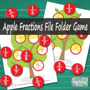 Apple fractions file folder games
