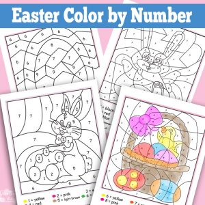Easter Color By Numbers Worksheets