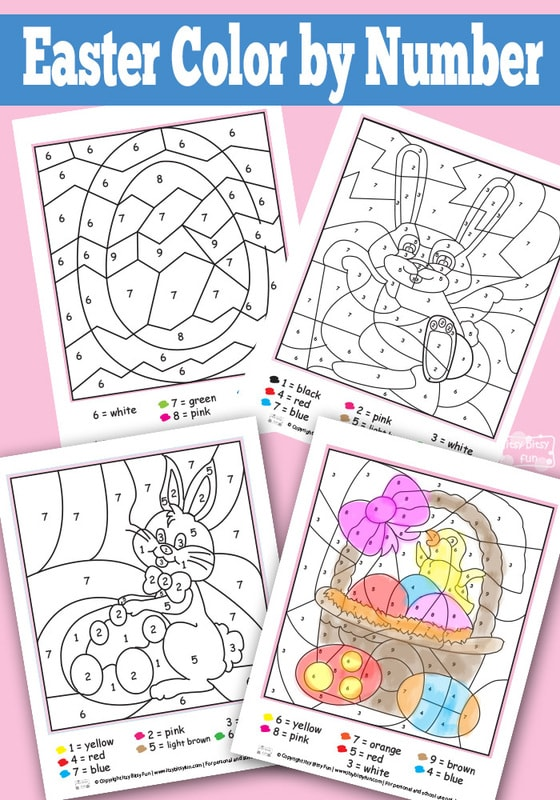 Easter Color By Numbers Worksheets - Itsy Bitsy Fun