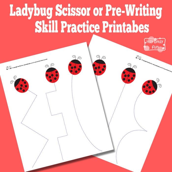 Ladybug Scissor Practice Worksheets