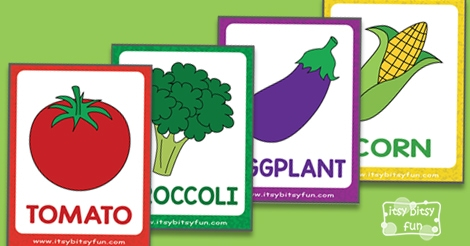 free vegetable flashcards itsy bitsy fun