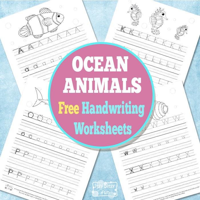 Free Ocean Animals Handwriting Worksheets