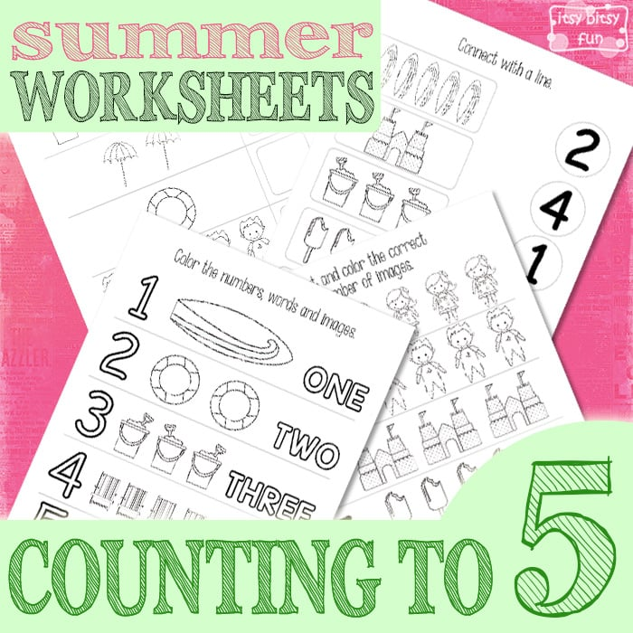 Free Summer Counting to 5 Worksheets for Kids