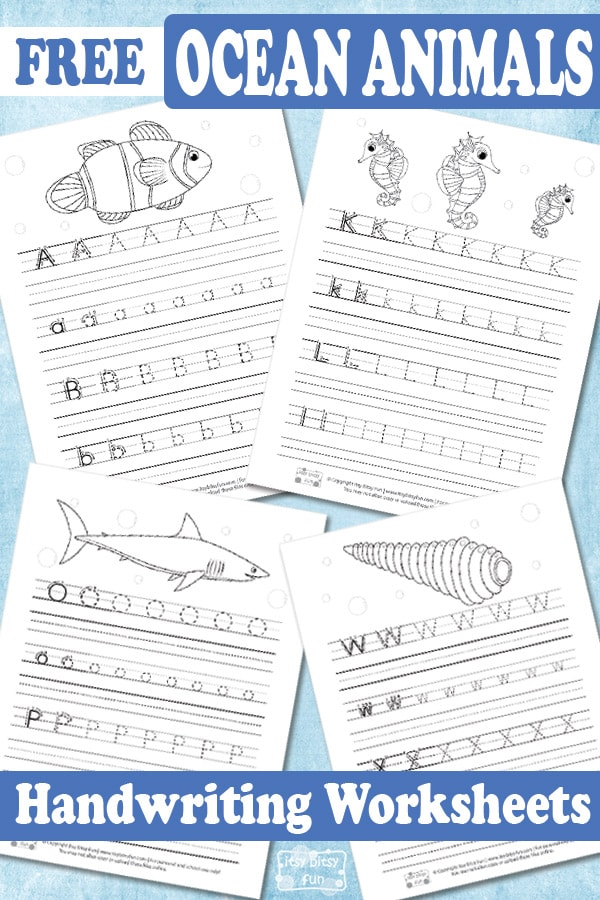 Lovely Free Ocean Animals Handwriting Worksheets