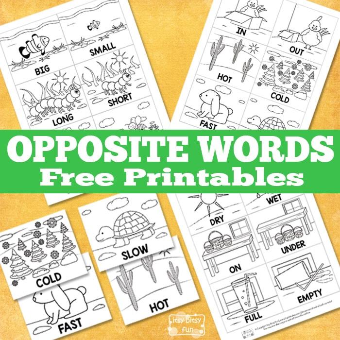 Lovely Free Opposite Words Printables