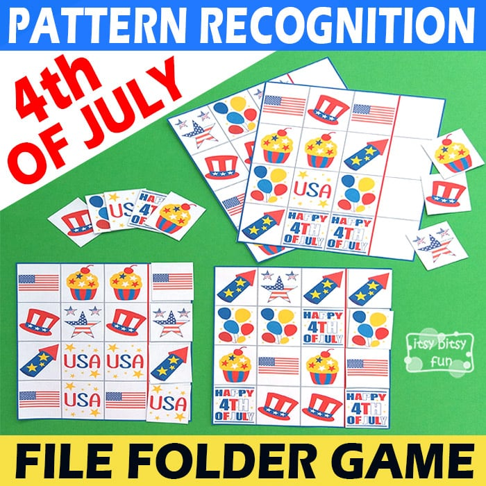 4th of July Pattern Recognition File Folder Game