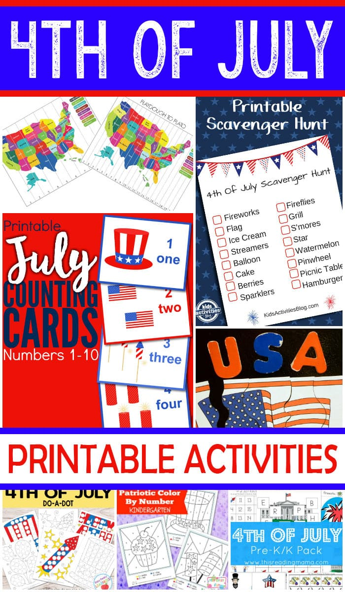 Free Printable 4th of July Printable Activities for Kids