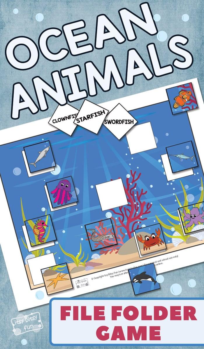 Ocean Animals File Folder Game Prinable