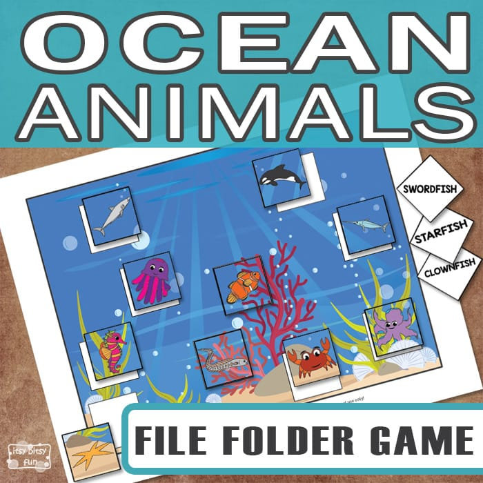 Printable ocean animals file folder game itsy bitsy fun for Free file folder game templates