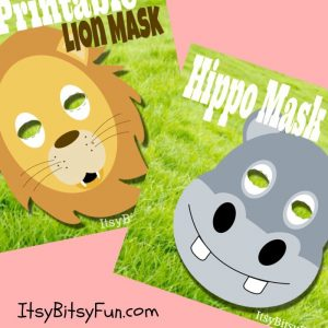 New Printable Animal Masks Added - Lion & Hippo