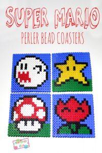 Perler Bead Super Mario Coasters (with patterns)