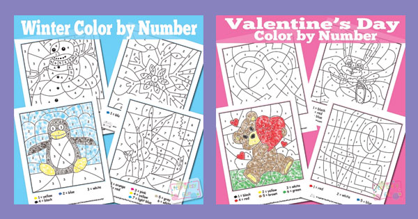 2 New Themed Color by Number Packs