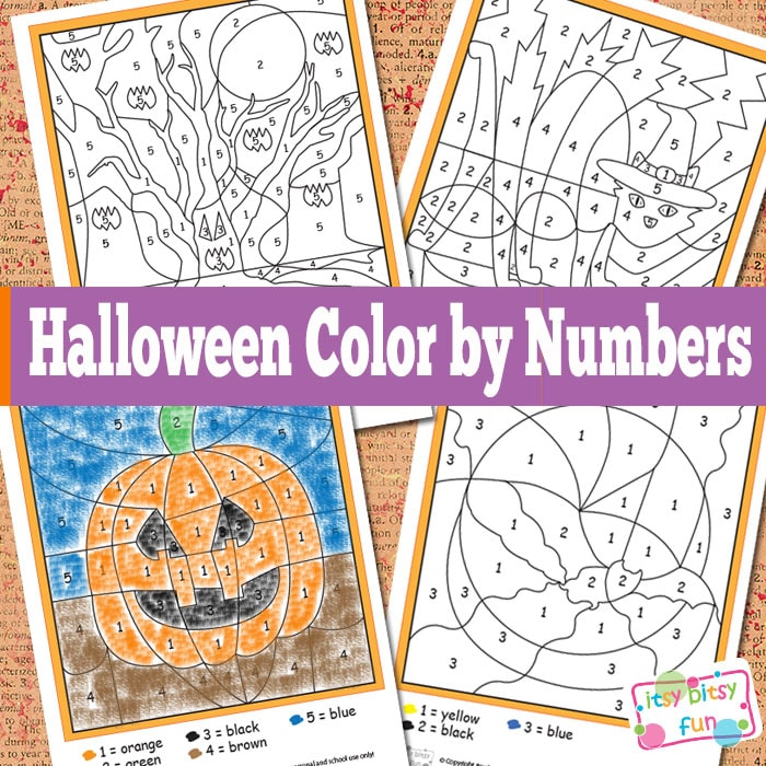 Halloween Color By Numbers Worksheets - itsybitsyfun.com