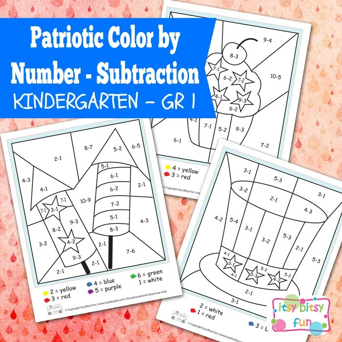 4th of July Color by Number Subtraction Kindergarten ...