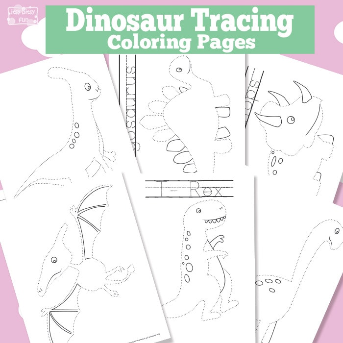 Dinosaur Tracing Coloring Pages for Kids