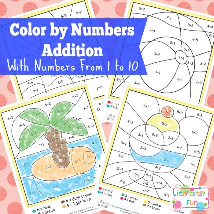 Summer Color by Number Addition Worksheets - itsybitsyfun.com