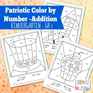 4th of July Color by Number Addition Kindergarten Worksheets