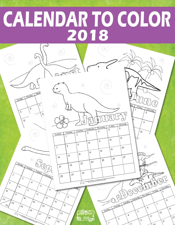 Printable Calendar for Kids 2018 - Itsy Bitsy Fun