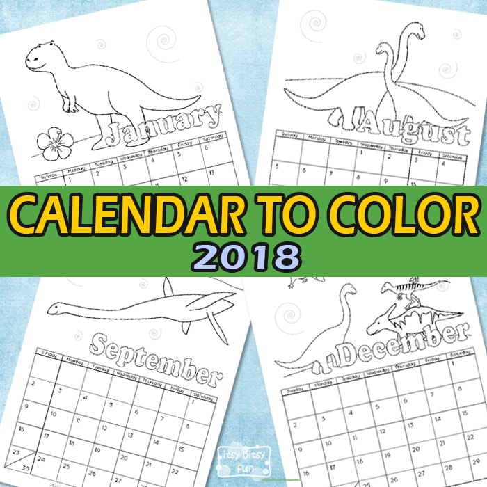 Free Printable Calendar for Kids to Color 2018