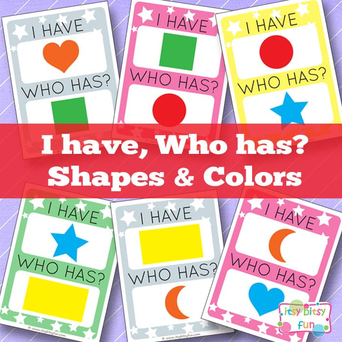Printable I Have, Who Has Shapes and Colors (or grab free blank template)