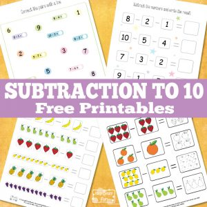 Math Subtraction to 10 Free Printables