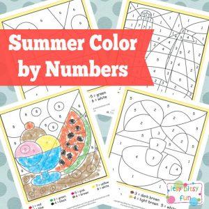 Printable Summer Color by Numbers Worksheets