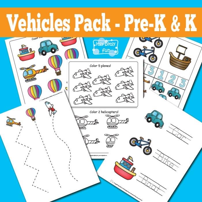 Vehicles Printable Worksheets for Kindergarten and Preschool