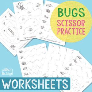 Bugs Scissor Practice Worksheets