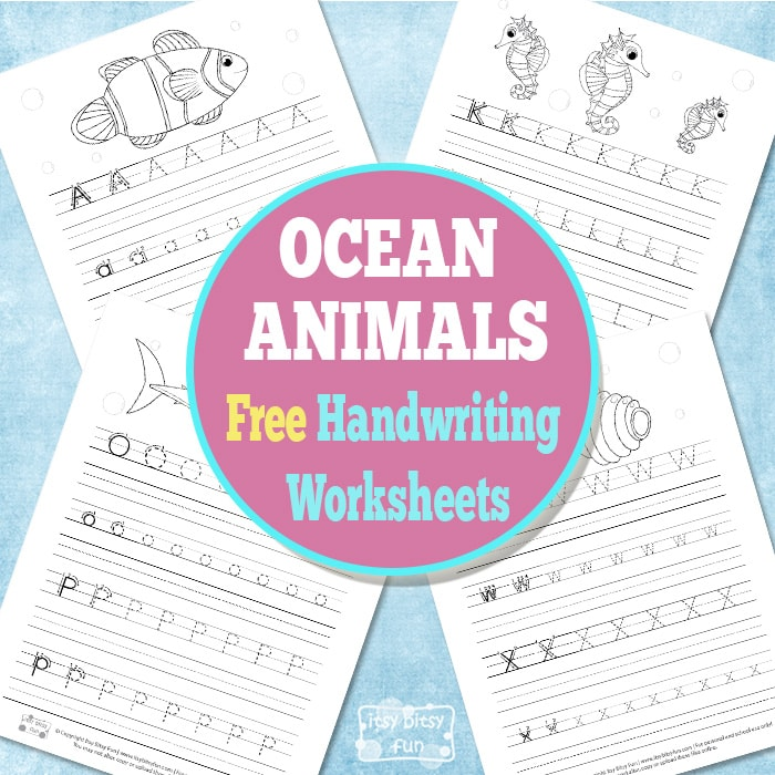 Ocean Animals Handwriting Worksheets