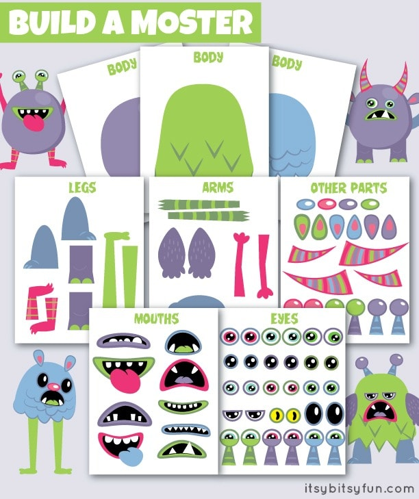 graphic regarding Printable Monster named Cost-free Printable Create a Monster - Itsy Bitsy Entertaining