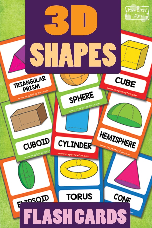 image about Free Printable Shape Flashcards identified as 3D Designs Flashcards - Itsy Bitsy Exciting