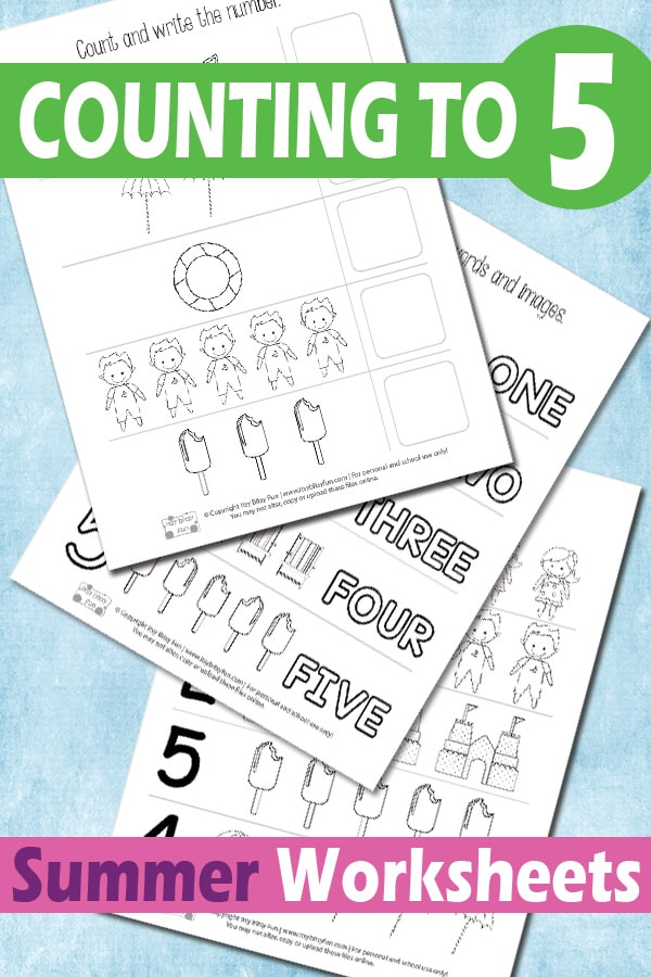Free Printable Summer Counting to 5 Worksheets for Kids