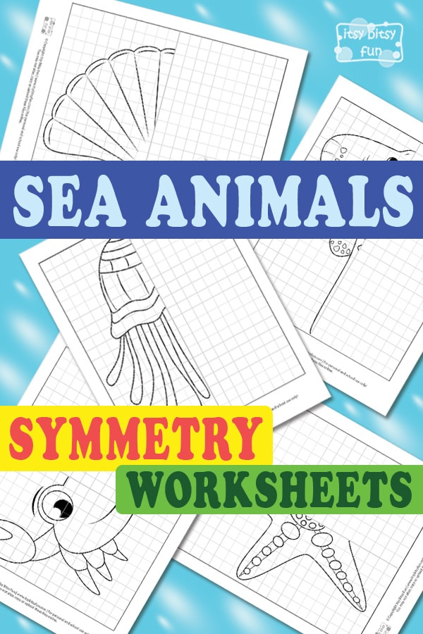 Free Printable Sea Animals Symmetry Worksheets for Kids
