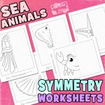 Sea Animals Symmetry Drawing Worksheets