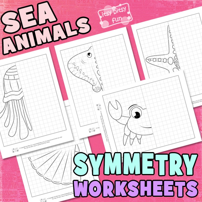 Sea Animals Symmetry Worksheets