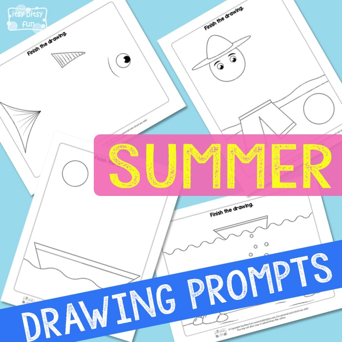 Summer Drawing Prompts Free Printable for Kids