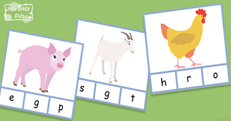 Farm Animals Beginning Letter Clip Cards - Itsy Bitsy Fun
