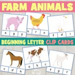 Farm Animals Beginning Letter Clip Cards