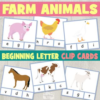 Free Farm Animals Beginning Letter Clip Cards