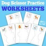 Dogs Scissor Practice Worksheets for Kids