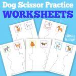 Dogs Scissor Practice Worksheets for Kids