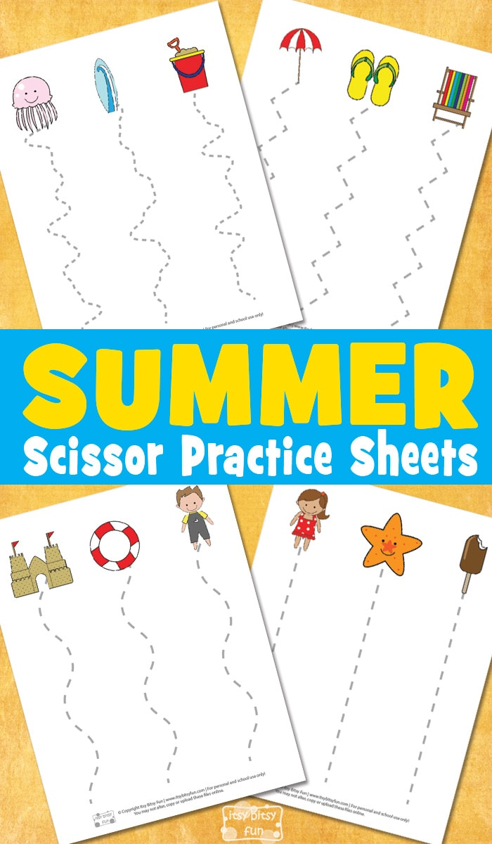 Free Printable Summer Scissor Practice Sheets