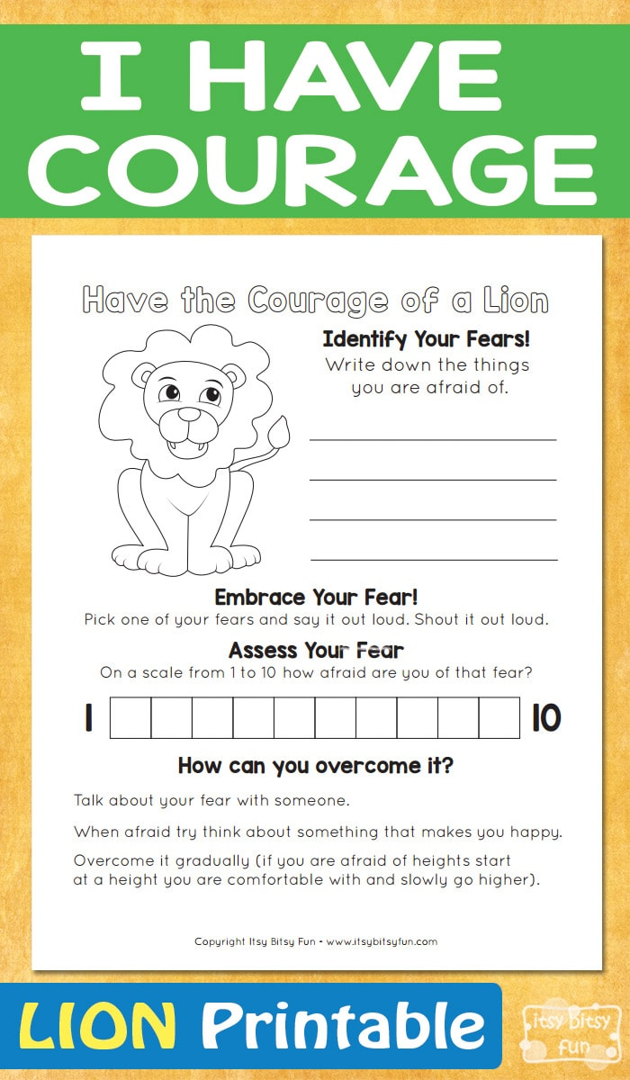 I Have Courage - Lion Printable