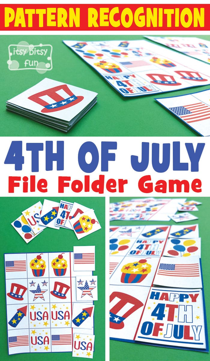 Free Printable 4th of July Pattern Recognition File Folder Game