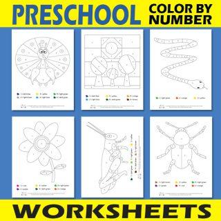 Preschool Color by Number Worksheets