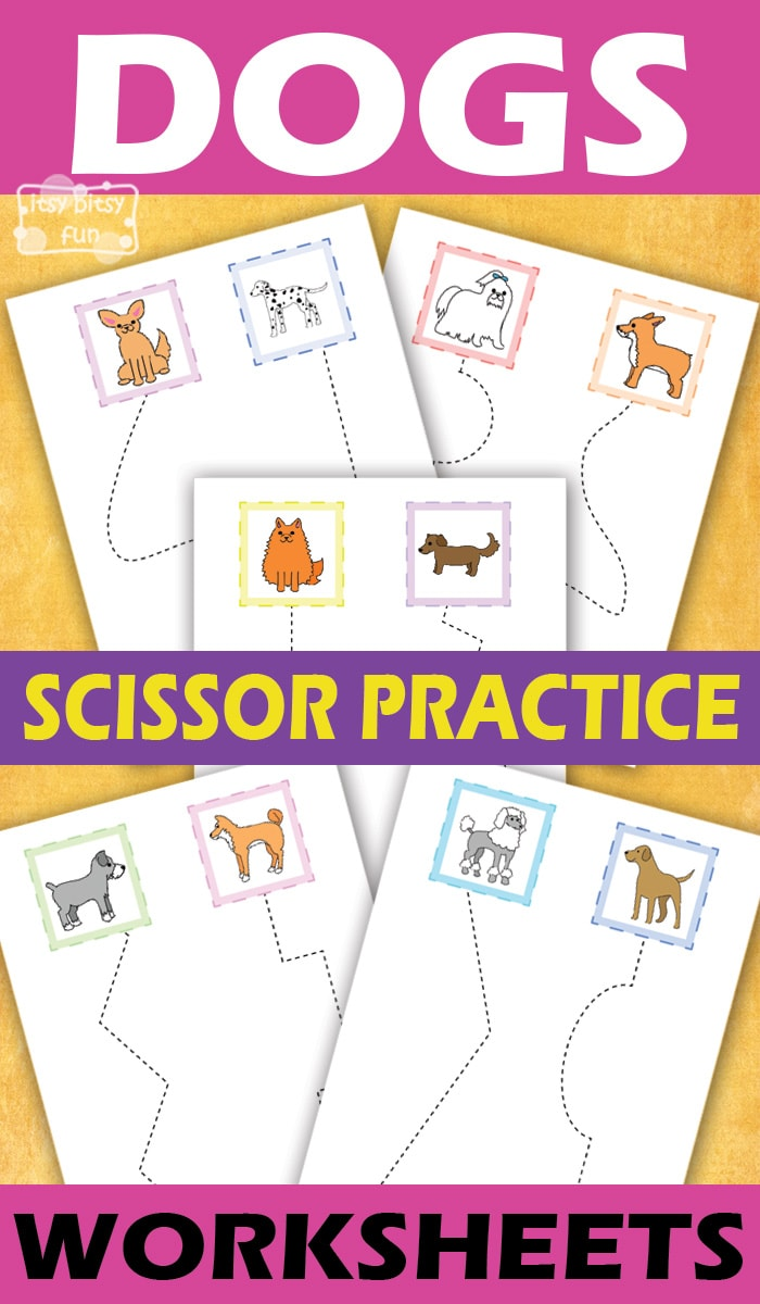 Dogs Scissor Practice Worksheets For Kids Itsy Bitsy Fun