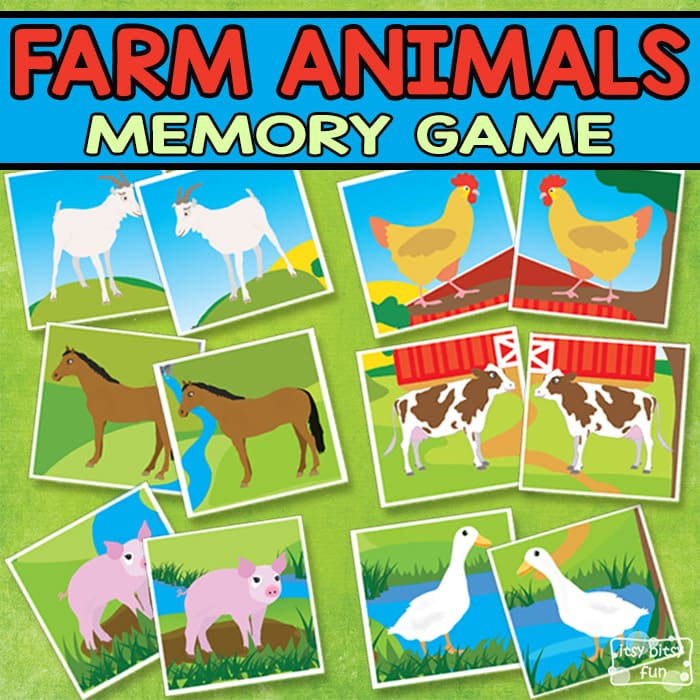 Printable Farm Animals Memory Game