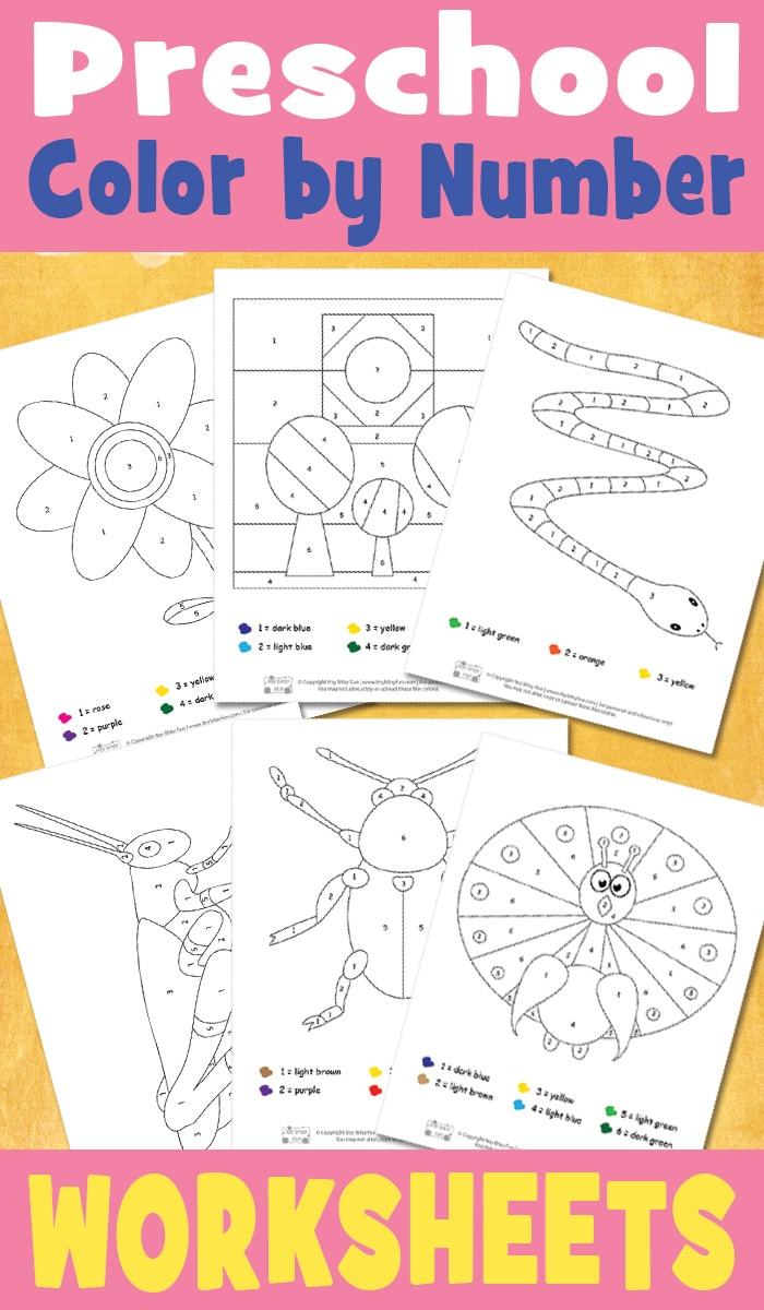 Preschool Color by Number Worksheets - itsybitsyfun.com